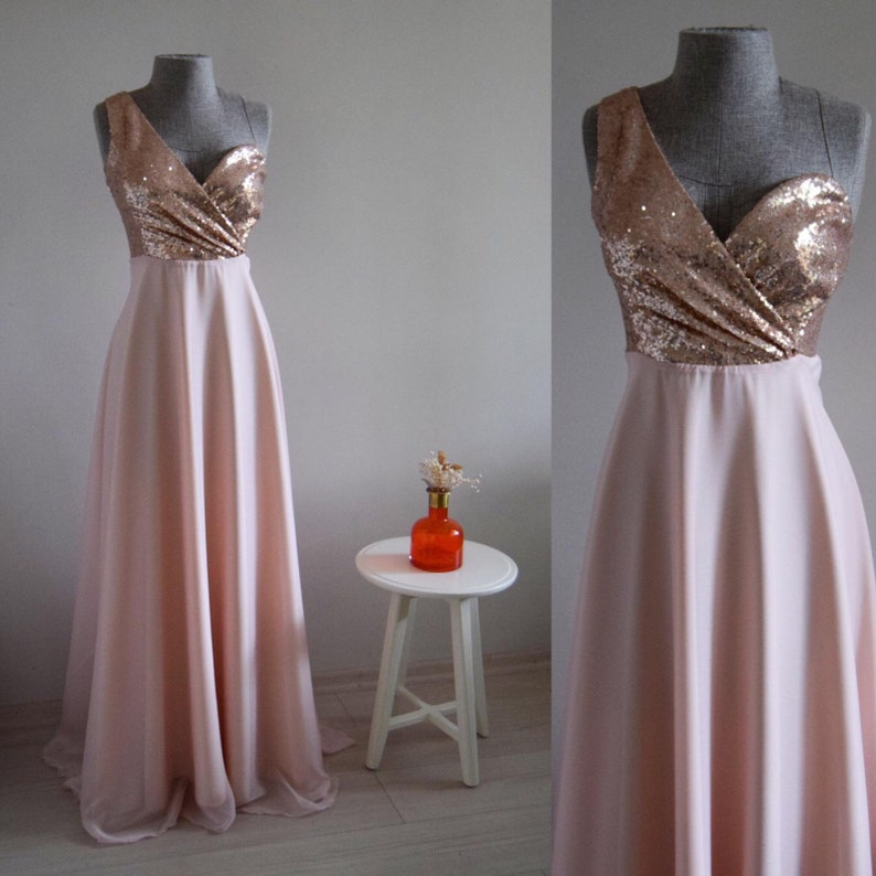 89fa6d86c52 Charming Chiffon With Top Sequin Blush Gold One Shoulder