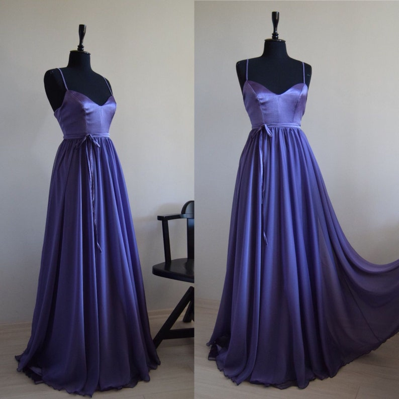 f2b12a28c7e Fairy-tail Silk Organza Chiffon Lilac Maxi Dress In Spaghetti
