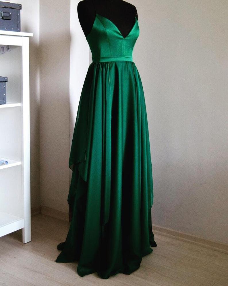 02e51b62721 Handmade Silk Emerald Chiffon Maxi Dress In Spaghetti Straps