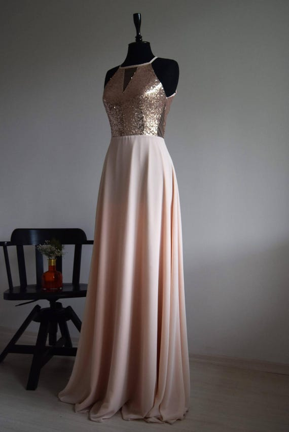 Long Chiffon Sequins Prom Bridesmaid Dress Evening Formal Party Ball Gown Custom