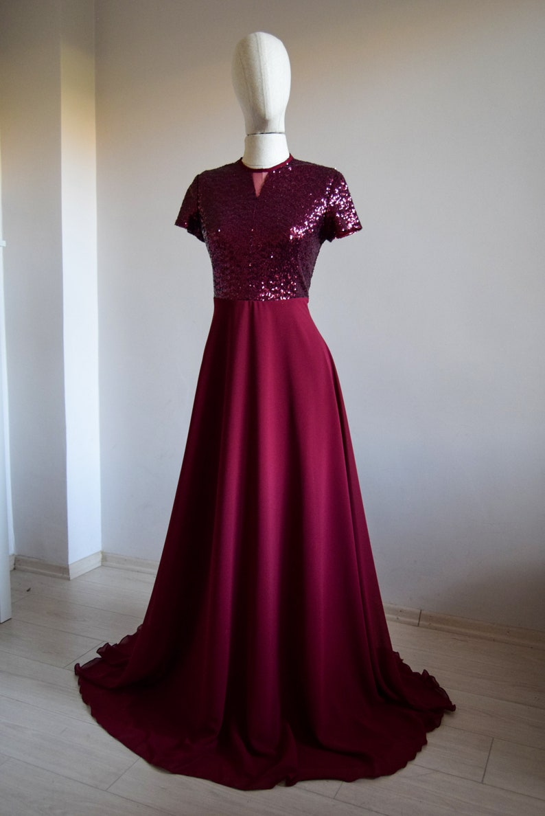 Close Back Dress Short Sleeve Sequin Long MOH Dress Made To Measure Silk Chiffon With Top Sequin Burgundy Bridesmaid Maxi Dress