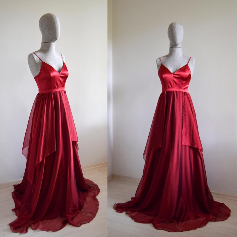 cdd34ca938c Fairy-Tail Silk Chiffon Crimson Maxi Dress In Spaghetti
