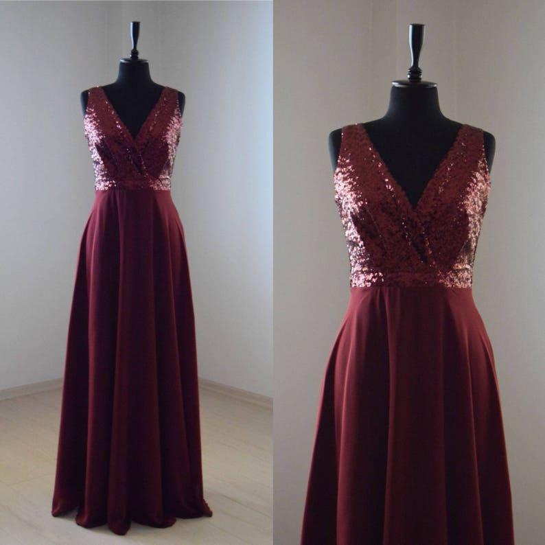 3be9b4fb1c Handmade Charming Chiffon With Top Sequin Bridesmaid Dress