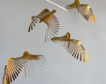 golden bird mobile,4 piece bird in flight brass mobile, kinetic metal art sculpture,Mobile Sculpture art, Burnt orange