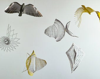 Kinetic art, wire sculpture, Special collection unique gift, Wire art christmas gifts, metal art,Metal fish,Metal bird,Metal shell, bird art