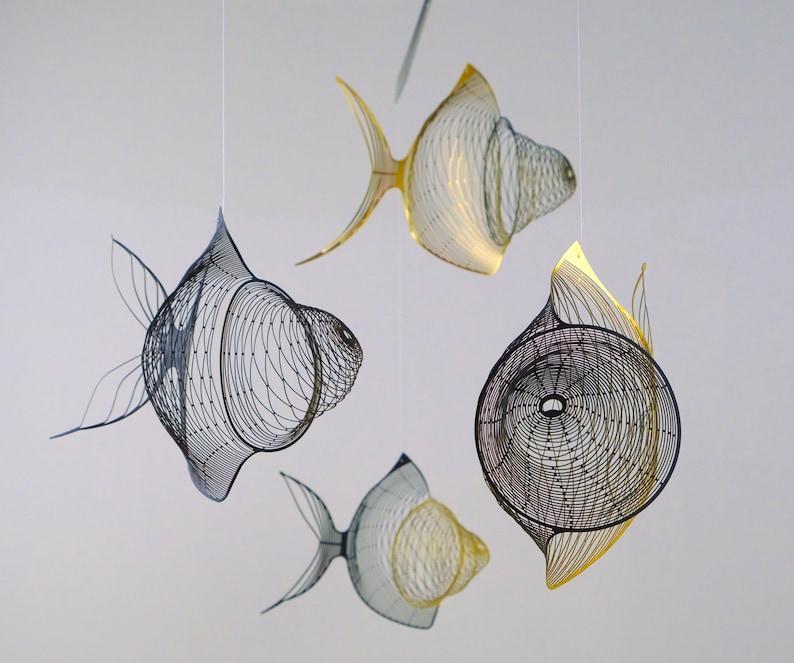 Gold black fish mobile 4 or 6 piece Fish metal sculpture image 0