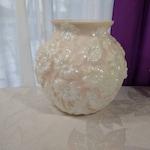 Large Milk Glass Statement Vase Iridescent Embossed Flowers Unique Rare Large Pink Carnival Milk Glass