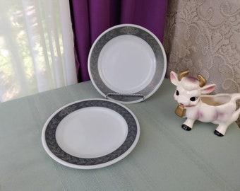 Corning Pyrex Grecian Gray Bread Plate # 711 Set Of 2 Decor Dinnerware Grey Laurel Leaf Boarder Plate Mid Century Heavy 7 1/2 inch