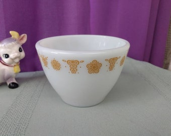 Corning Pyrex Butterfly Gold Sugar Bowl Open No Cover Replacement Milk Glass Embossed Little Joe Marking MyPurpleCowLuvsMilk