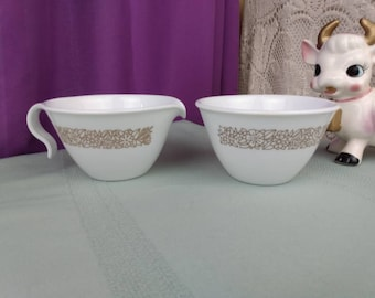Woodland Brown Corelle By Corning Creamer and Sugar Bowl Open Brown Floral Milk Glass Corning Retro 70's Kitchen Affordable Gift