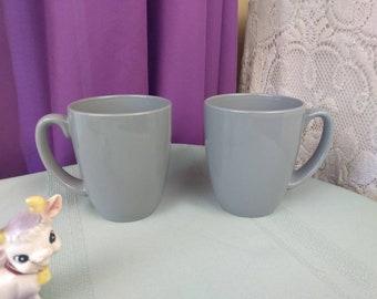 Corelle Coordinate Gray Ceramic Mugs Set Of 2 Stoneware Coffee Cups Corning Dove Gray Ribbon Bouquet Slate Grey Solitary Apricot Grove