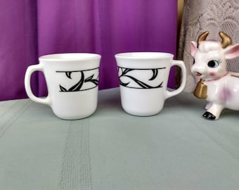 Corelle Lyrics Cups Set of 2 Replacement Coffee Cups Discontinued Pattern Black Leaves On White Vitrelle Milk Glass Ceramic Mix Retro 80's