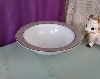PYREX Dove Gray Gold Rimmed Milk Glass Opal Ware Serving Bowl Grey Border White Glass ~ Opalware ~ Mid Century ~ Retro ~ Vintage Kitchen