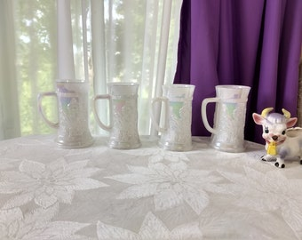 Set Of 4 Moon Glow Pearl Lustre Federal Glass Tavern Theme Steins Opalescent Milk Glass Shabby Chic Country Cottage Tall Coffee Mugs