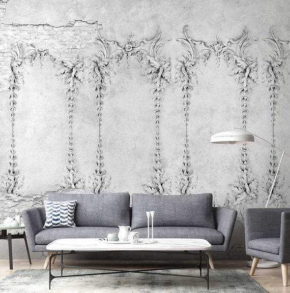 arte wallpaper wallpaper temporaire loft design papier etsy. Black Bedroom Furniture Sets. Home Design Ideas