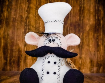 Chef Decor for Kitchen - Little Chef - Decorative Doll - Collectible - Table Top Decor - Tiered Tray - Wreath Decor - Centerpiece - Cooking