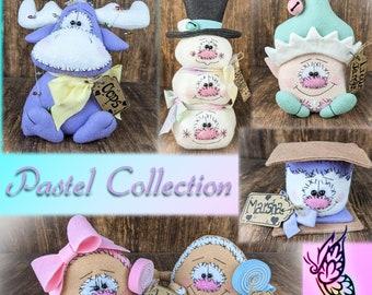 Pastel Primitive Collection - Snowman - S'more - Gumdrop Set - Christmas Moose - Little Elf - Shelf Sitter Decor - Wreath Attachment - Gift