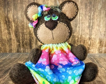 Butterfly Bear- Teddy Bear - Summer Bear - Gift Idea - 4th of July Decor - Decorative Doll - Collectible - Table Top Decor - Tiered Tray