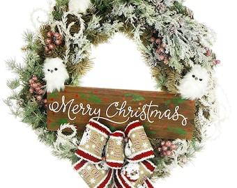 Christmas Owl Wreath - Winter Wreath - Owl Wreath - Christmas Owl - Christmas Front Door Wreath - Front Door Decor - Holiday Wreath