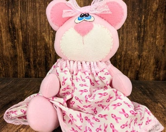 Breast Cancer Awareness - Save the Tatas - Cancer Fighter - Teddy Bear - Gift Idea - Decorative Doll - Collectible - Table Top Decor