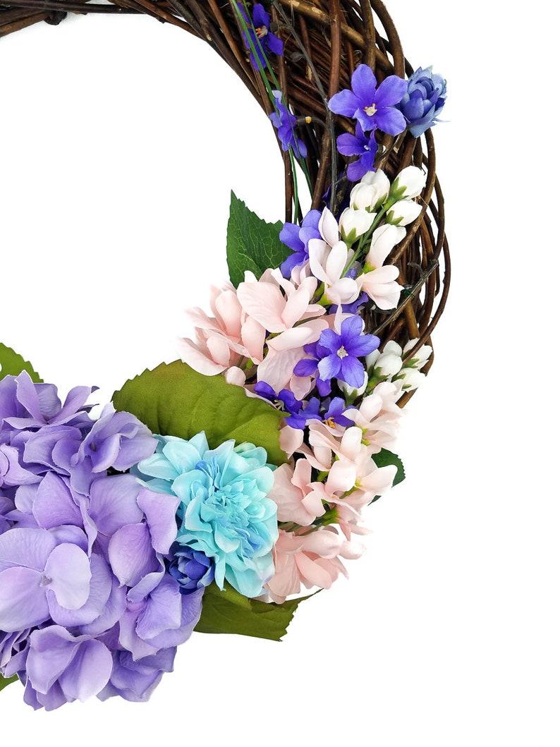 Spring Floral Wreath Porch Decor Spring Grapevine Wreath Spring Wreath -Hydrangea Wreath Wisteria Wreath Floral Grapevine