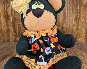 Halloween Bear - Teddy Bear - Fall Bear - Gift Idea - Trick or Treat-  Decorative Doll - Collectible - Table Top Decor - Tiered Tray
