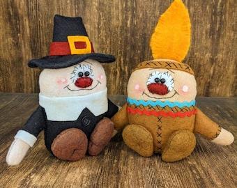 Thanksgiving Decor - Pilgrim - Native American - Primitive - Shelf Sitter - Tiered Tray - Wreath - Centerpiece - Gift Idea - Collectables