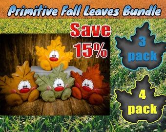Primitive Fall Leaf Bundle - Handmade Bowl Filler - Maple Leaf - Shelf Sitter - Tiered Tray - Wreath - Centerpiece - Gift - Collectables
