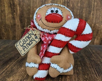Primitive Gingerbread Man - Shelf Sitter - Gingie - Tiered Tray Decor - Candy Cane - Christmas Decor - Gingerbread Man - Table Top Decor