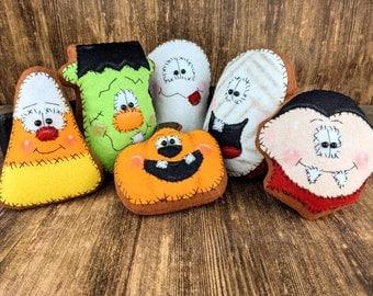Halloween Cookie - Candy Corn -  Primitive Dracula - Mummy - Ghost - Frankenstein - Bowl Fillers - Halloween Decor - Wreath Attachment