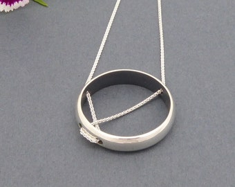 Sterling silver necklace-Contemporary jewelry-Handmade necklace-Minimalist-Statement necklace-Fine jewelry-Silver pendant-For her