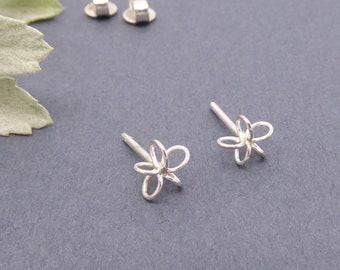 Silver stud earrings-Handmade-Small post earrings-Minimalist-Simple jewelry-Everyday wear-Fine jewelry-Second / third piercing-For her