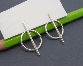 Silver EAR JACKET-Minimalist earrings-Double sided earrings-Open circle earrings-Bar earrings-SILVER earrings-Handmade-Gifts for her-For him