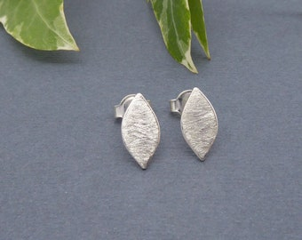Silver leaf earrings-Small stud earrings-Handmade-Minimalist jewelry-Silver post earrings-Inspired by nature-Simple and chic-Bruhed finish
