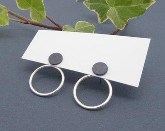 Silver ear jacket-Minimalist-Double earrings-Circle earrings-silver stud earrings-Simple jewelry-Black dot earring-Handmade-For her