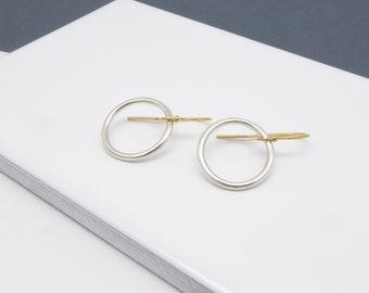 Silver circle earrings-Gold filled earwire-Minimalist jewelry-Handmade-Simple jewelry-Big dangle earrings-Open circle drop earrings-For her