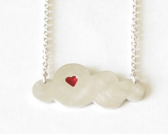Handmade sterling silver and resin CLOUD necklace-Minimalist jewelry-Cloud pendant-Long silver chain-Pendentif nuage en argent sterling