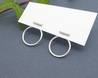 Silver EAR JACKET-Minimalist-Double sided earrings-Circle earrings-Bar earrings-SILVER jewelry-Handmade-Simple jewelry-Gifts for her