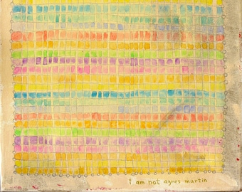 Agnes Martin Inspired Small Canvas Painting Graphite Grid Work of Art 11x14 Unframed Pastel Colors Words: I Am Not Agnes Martin Aged Look