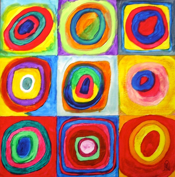 Kandinsky Inspired Circle Art Original Painting With Bright Cheerful Multi Colors 10x10 On Wood Panel Contemporary Modern Abstract Art