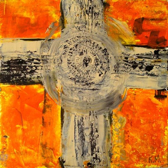 Cross Symbolism Original Painting Orange Black Abstract Textured Modern Abstract Art 10x10 Wood Panel Station Of The Cross Small Minimalism