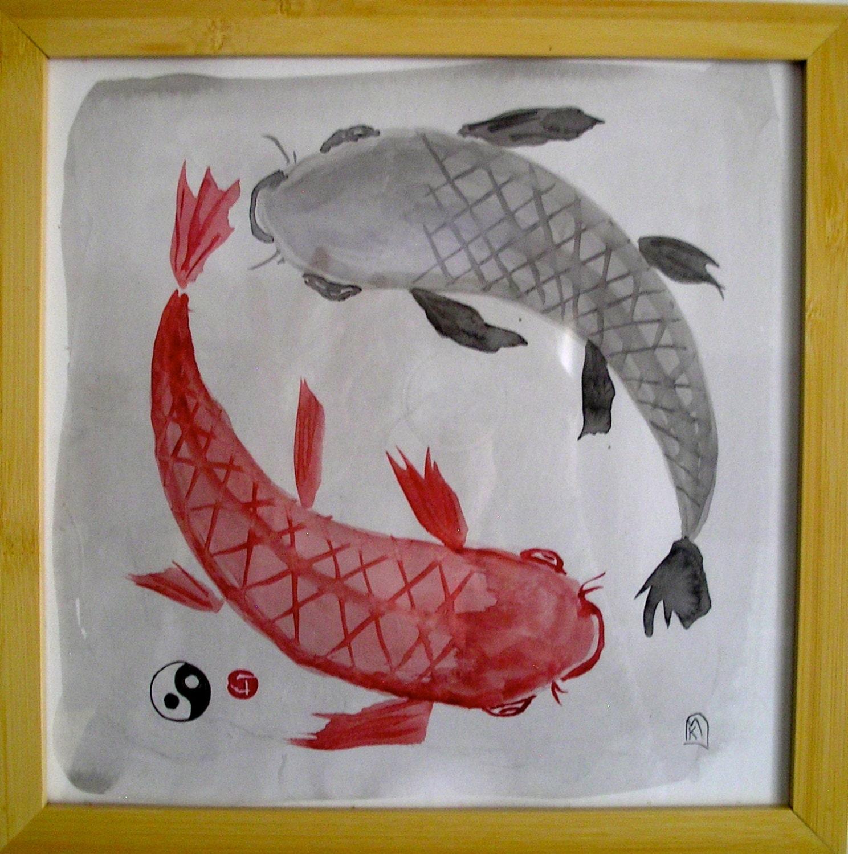 Yin Yang peces Koi Sumi-e tinta Original pintura 10x10inches | Etsy