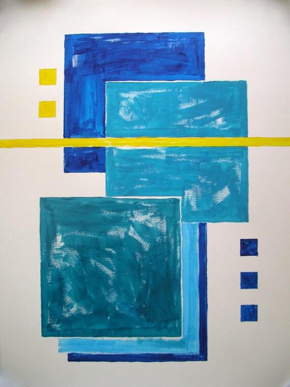 Bleu Peinture Acrylique Art Géométrique Original 18 X 24 Abstrait Moderne Fond Blanc Peinture Bleue Jaune Simplifier Le Minimalisme Lumineux