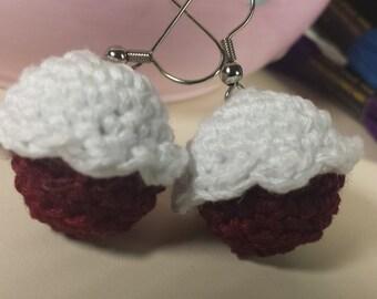 Red Velvet Cupcake Crochet Earrings