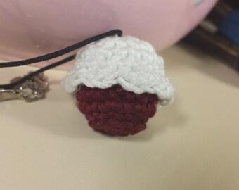 Red Velvet Cupcake Crochet Necklace