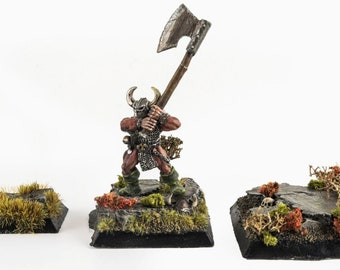 WWS 5 x Miniature Model Square Bases with Scenery Kit - Fantasy Wargames