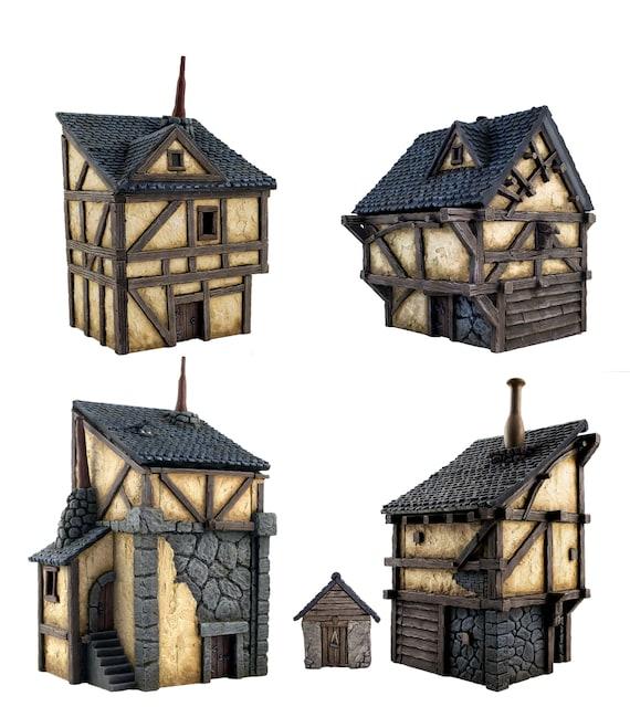 WWG Fantasy Village Set of 4 Houses \u2013 28mm Medieval Wargaming Terrain Model Scenery