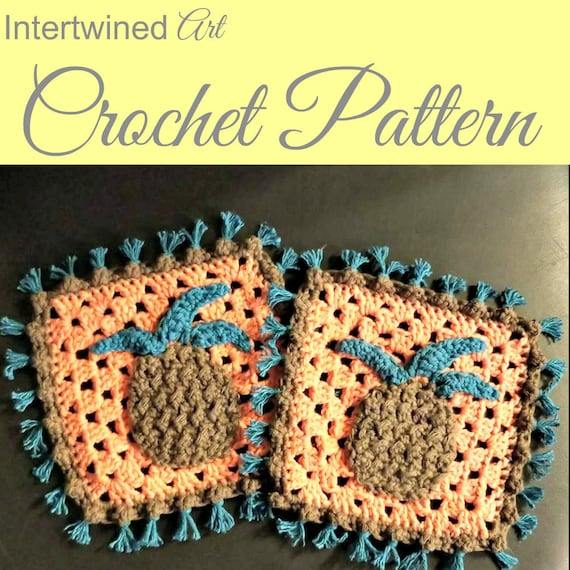 Crochet Pineapple Fringe Dishcloth Pattern Pineapple Granny Etsy