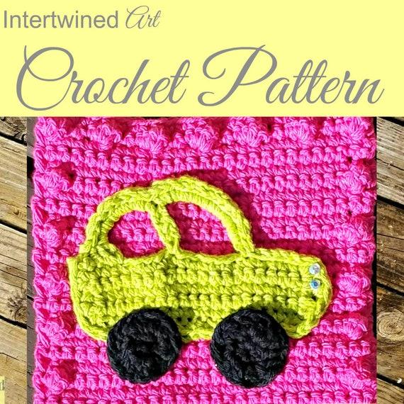 Crochet Pattern Car Applique Granny Square Pattern Like A