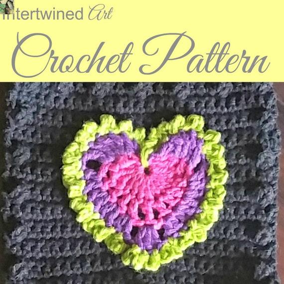 Crochet Pattern Heart Applique Granny Square Pattern Like A Etsy